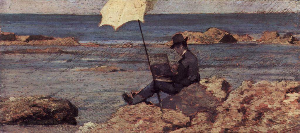 Silvestro Lega dipinge in riva al mare