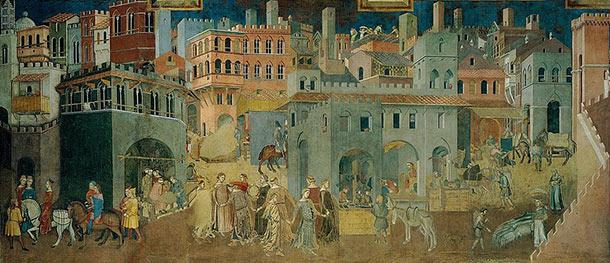 Ambrogio Lorenzetti, affresco del Buon Governo, particolare (1338-1339) Sala dei Nove Palazzo Pubblico